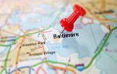 image of maryland  - Baltimore Maryland map with red tack - JPG