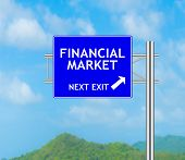 Road Sign Concept To Financial Market