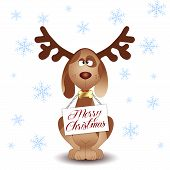 Funny Dog With Reindeer Antlers