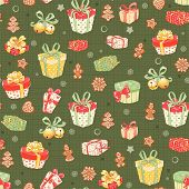 Christmas seamless pattern with holiday symbols on green background.