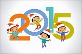 Vector 2015 Happy New Year background . Cartoon children and numbers.