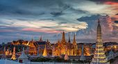 image of emerald  - Wat Phra Kaew Temple of the Emerald BuddhaGrand palace at twilight in Bangkok Thailand - JPG