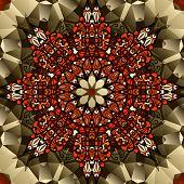 Kaleidoscope design. Mandala lotus flower symbol. Stylized chakra image.