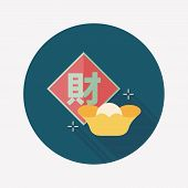 Chinese New Year Flat Icon With Long Shadow,eps10, Chinese Festival Couplets With Gold Ingot Means