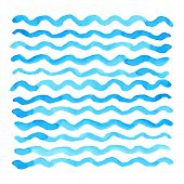 Abstract watercolor blue wave pattern, water texture sketch background. Drawing by hand