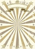 kraft brown vintage paper. A retro circus background with sunbeams. Ideal poster for your show