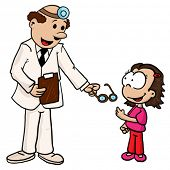 doctor giving little girl her glasses isolated on white