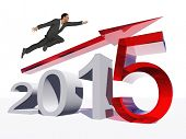 Conceptual 3D human,man or businessman flying  over an red 2015 year symbol with an arrow isolated on white background