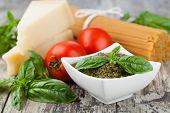 Basil pesto sauce and fresh ingredient