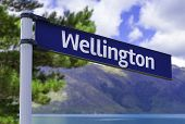 Wellington sign on a beautiful landscape background
