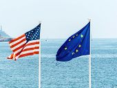 flags of the european union and the usa, symbol photo for partnership, diplomacy, foreign policy