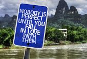 Nobody is Perfect Until You Fall In Love With Them sign with a forest background