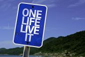 One Life Live It sign with a beach on background