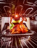 Housewife prepares roast chicken in the oven, view from the inside of the oven. Cooking in the oven.