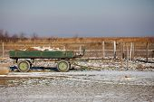 Farm in winter with cart