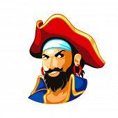 Cheerful pirate head in three-corner hat