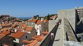 Walking around the historic city wall of Dubrovnik.