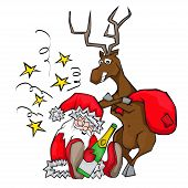 drunken Santa Claus sleeps. deer carries a bag.
