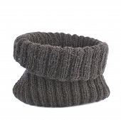 image of knitted cap  - Black knitted head cap isolated over the white background - JPG