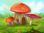 pic of agar  - Fantasy fly agaric mushroom cottage on a colorful meadow - JPG