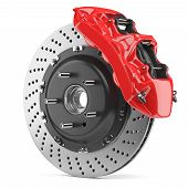 Постер, плакат: Automobile Brake Disk And Red Caliper