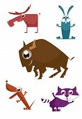 picture of aurochs  - Comic cartoon funny animals set for design - JPG
