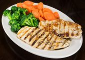 image of steam  - Two pieces of grilled chicken breast - JPG