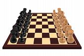 stock photo of chess pieces  - Chess pieces standing on chess board  - JPG