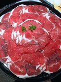 stock photo of shabu  - closed up the sliced beef shabu set - JPG