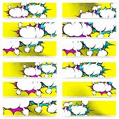 image of sketch book  - Retro pop art style comic book explosion web header footer collection set of funny funky dotted banner background - JPG