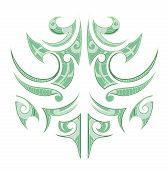 picture of maori  - Artistic vector illustration with Maori tribal tattoo - JPG