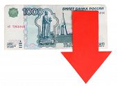 foto of depreciation  - Red arrow on Russian money as depreciation of currency isolated on white - JPG