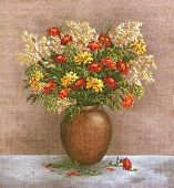 Постер, плакат: Marigold And Saffron in a Clay Vase