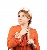 foto of braids  - Pretty girl with thick long braid - JPG