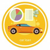 picture of car symbol  - Car loan approved document with dollars money - JPG