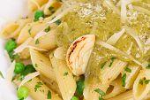 foto of pesto sauce  - Pasta with pesto sauce and parmesan - JPG
