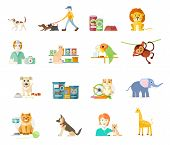 image of hamster  - Icon set with home animals silhouettes of pets isolated on white background - JPG
