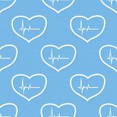 image of heartbeat  - Heartbeat blue with white seamless pattern for web design - JPG