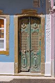 foto of faro  - dark green door in ancient portuguese town of faro - JPG