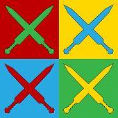 stock photo of longsword  - Pop art crossed gladius swords symbol icons - JPG