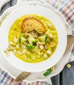 stock photo of brussels sprouts  - Thick vegetable soup puree with Brussels sprouts - JPG