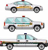 image of armored car  - Three variants of the police car in a flat style - JPG