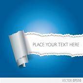 picture of cut torn paper  - blue paper torn in the middle with a white background - JPG