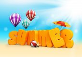picture of beach-ball  - Summer 3D Dimensional Texts Standing in Beach Sand with Sky and Sun Rays Background with Flying Colorful Balloons - JPG