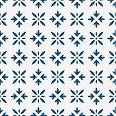 foto of indigo  - Indigo and white seamless floral delft pattern - JPG