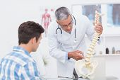 stock photo of spines  - Doctor explaining a spine model to patient in medical office - JPG