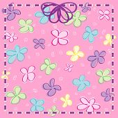 foto of girly  - Vector Girly Flowers with Ribbon  - JPG