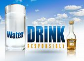 pic of boose  - A big glass of water a small alcohol bottle and the text drink responsibly - JPG