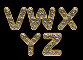 Golden V, Z, W, X, Y Letters Incrusted With Diamonds