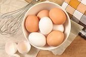 pic of chicken-wire  - Eggs and whisk on wooden table - JPG